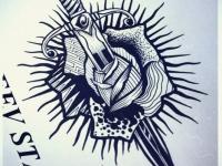 Татуировка кинжал в розе