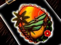Татуировка пейзаж с пальмами