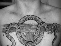 Татуировка змея на груди