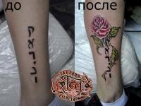 Татуировка роза на голени
