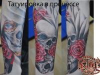 Татуировка череп и розы