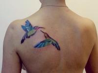 Татуировка птицы на лопатке