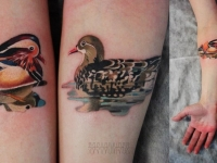 Татуировка утка на предплечье