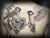 Татуировка два воробья возле цветка на спине
