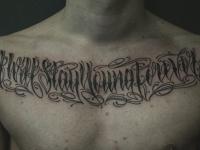 Тату оригинальная надпись от плеча до плеча