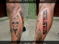 Татуировка надпись и портрет на голени