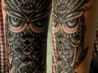 Татуировка филин на предплечье