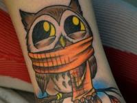 Татуировка филин на щиколотке