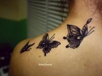 Татуировка бабочки на спине