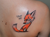Татуировка Лис на лопатке