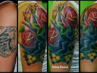 Татуировка птица в розах на плече