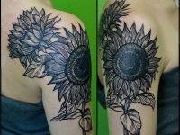 Татуировка подсолнухи на плече