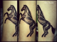 Татуировка лошадь на икре