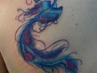 Татуировка Жар-птица на лопатке