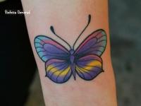 Разноцветная бабочка на руке