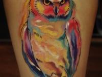 Цветная татуировка филина на руке