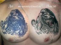 Татуировка пантера на груди