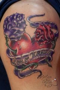 татуировка розы сердце old school лента любовь love традиция олд скул