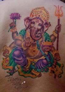 татуировка tattoo ганеш ганеша индия этно бог божество индийская на спине