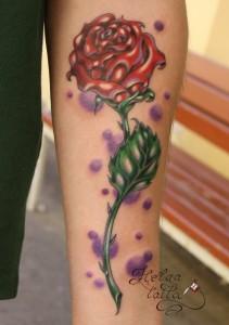 татуировка роза old new school tattoo тату на руке