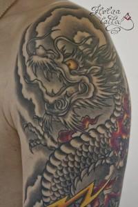 татуировка дракон япония ориентальная тату на плече