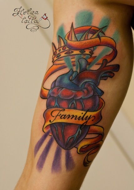 олд нью  скул old new school tattoo сердце лента family корона
