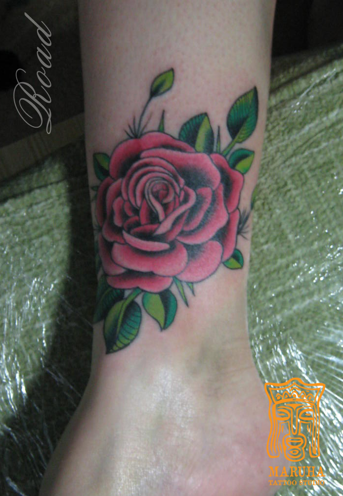 татуировка роза tattoo rase old school neotraditional олд скул