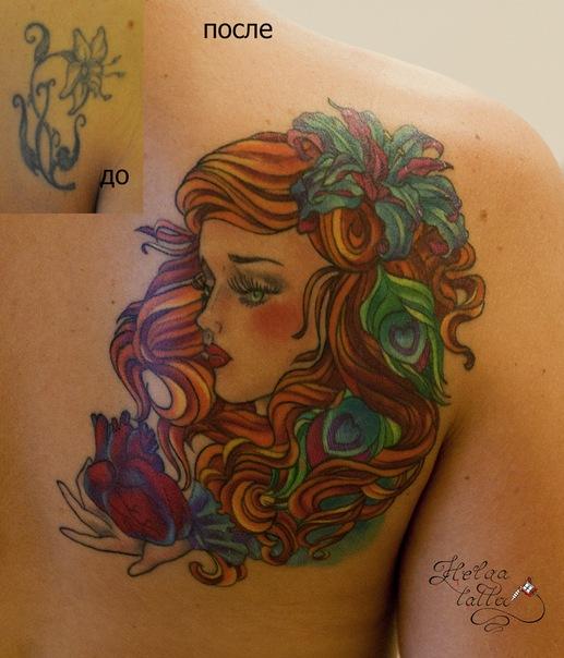 перекрытие татуировок татуировка на лопатке девушка