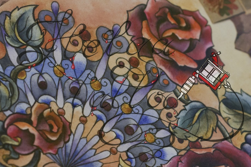татуировка old school женская тату traditional tattoo розы и веер
