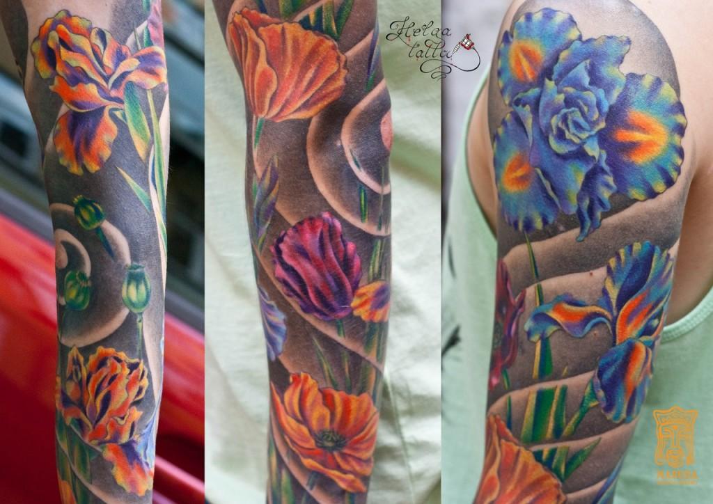цветная татуировка рукав тату цветы