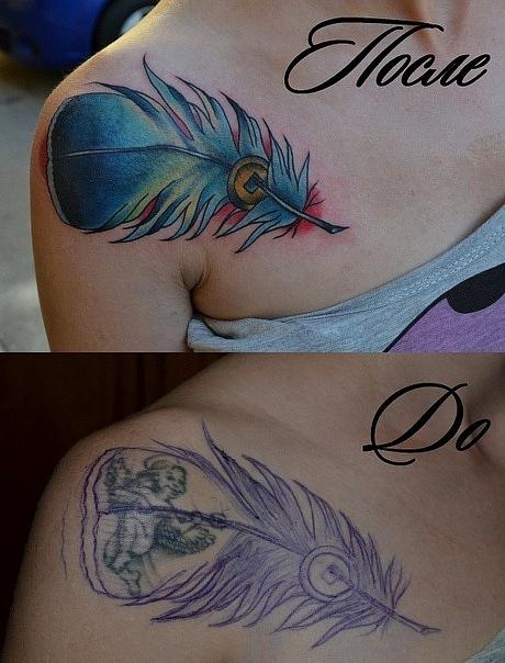"""Татуировка выполнена под ключицей, время работы - 2 часа. Рисунок - """"фрихендом"""". Перекрытие старой татуировки, cover up. Стилистика: олд скул, традишнл,традиционная татуировка, Traditional / Old school tattoo."""