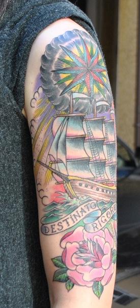 корабль роза якорь звезда роза ветров олд-скул old-school traditional neotraditional tattoo татуировка наколка парусник destinato rigore
