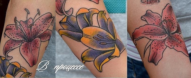 "Эта татуировка выполнена на руке. Начало ""рукава"". 1-ый сеанс 3 часа."