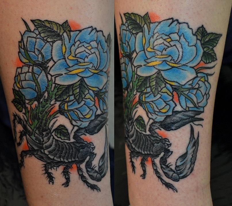 Татуировка выполнена на ноге, время работы около 3-4х часов. Цветная татуировка. Traditional / Old school tattoo. Эскиз из инета с изменениями. Мастер Виолетта Доморад