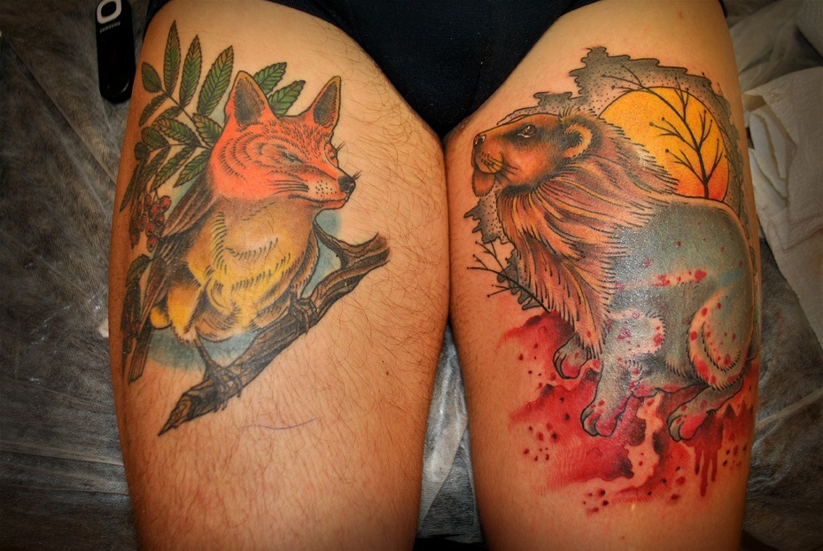 Художественная татуировка, тату льва, тату зайца, индивидуальная татуировка, artist tattoo, tattoo lion, tattoo rabit