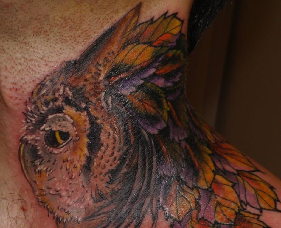 Художественная татуировка, татуировка совы, татуировка листья, перекрытие старой татуировки,  tattoo owl, tattoo cover-up, freehand tattoo, artist tattoo