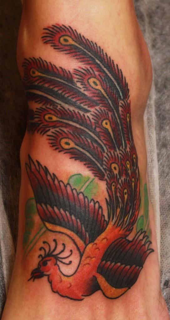 Художественная тату, тату Mike Malone Rollo, тату птица, тату жарптица, тату феникс, традиционная тату, traditional tattoo, artist tatoo, tattoo by Mike Malone Rollo, tattoo bird
