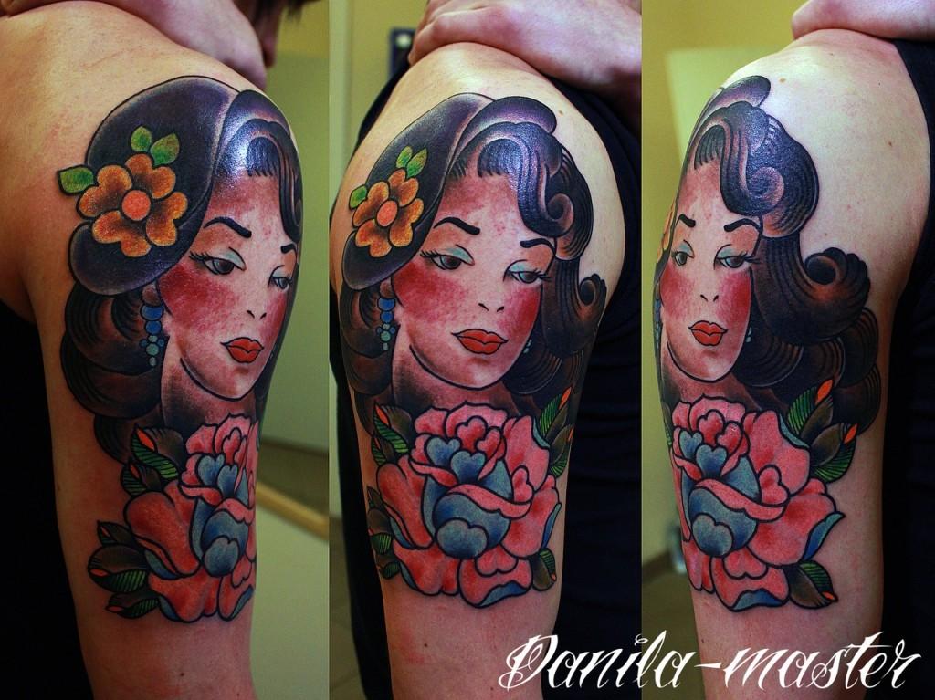 Традиционная татуировка, портрет тату, тату пин-ап, тату девушка, тату портрет девушка, traditional tattoo, tattoo pin-up, tattoo portret, tattoo portret of girl, tattoo pin-up girl,