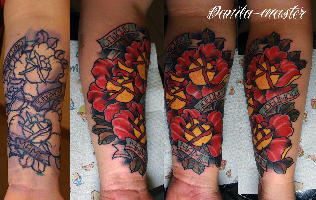 художественная тату, тату розы, тату маме, тату надпись, тату фрихенд, традиционная тату, artist tattoo, tatoo roses, tattoo for mum, tattoo for mother, traditional tattoo, tattoo freehand