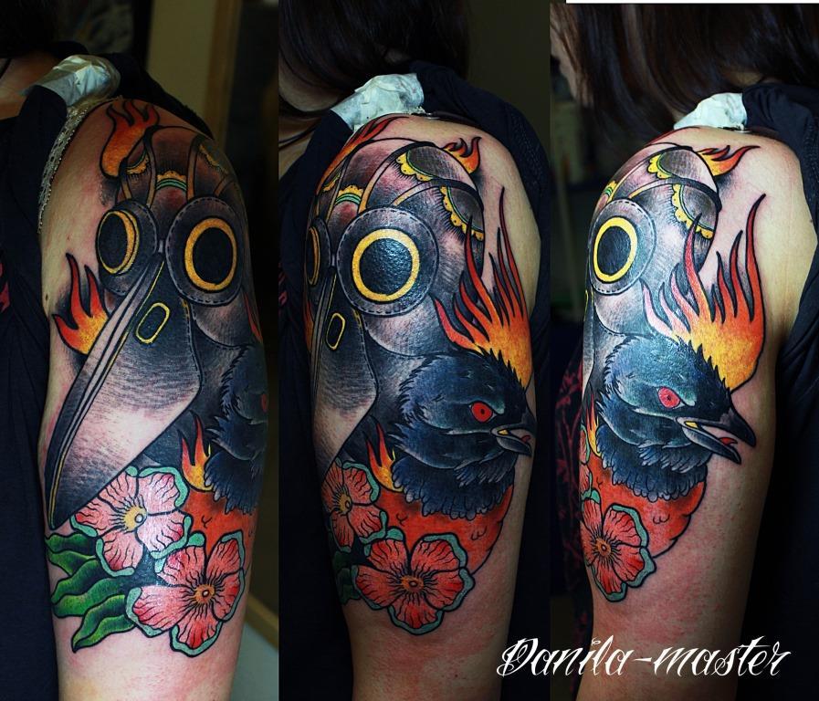 Художественная татуировка, традиционная тату, эксклюзивная тату, тату маска, тату  маска лекаря чумы, тату  ворон, тату  цветы , тату  огонь, artist tattoo, traditional tattoo, exclusive tattoo, tattoo flowers, tattoo flame, tattoo mask