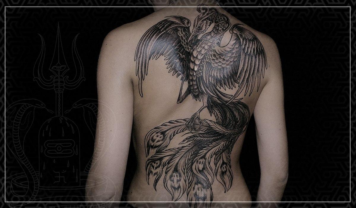 Художественная татуировка, тату  гравюра, тату  феникс, тату  птица, эксклюзивная тату, тату на спине, artist tattoo, engraving tattoo, exclusive tattoo, tattoo on back