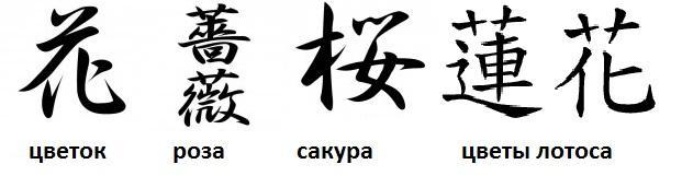 Тату - иероглифы китайские - цветы