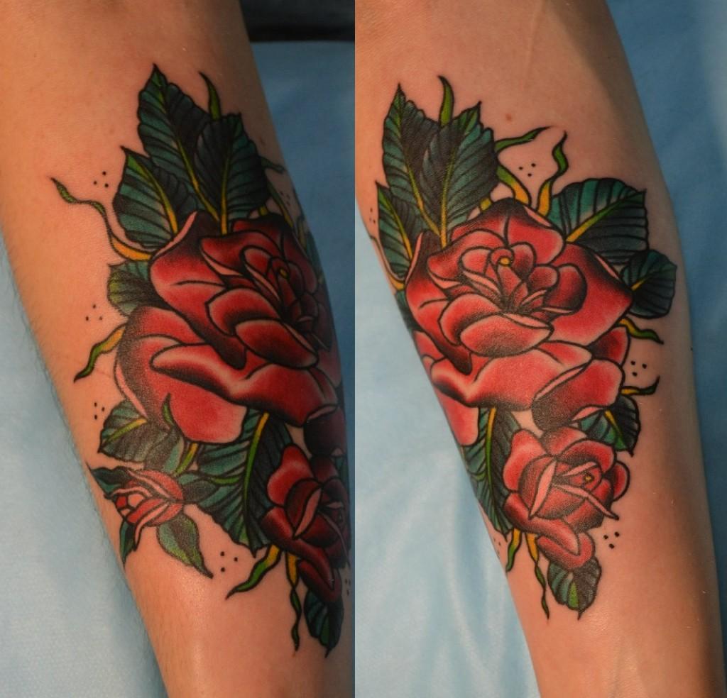 Татуировка выполнена на предплечье, эскиз McDonald, перекрытие старой татуировки. Мастер Виолетта Доморад.