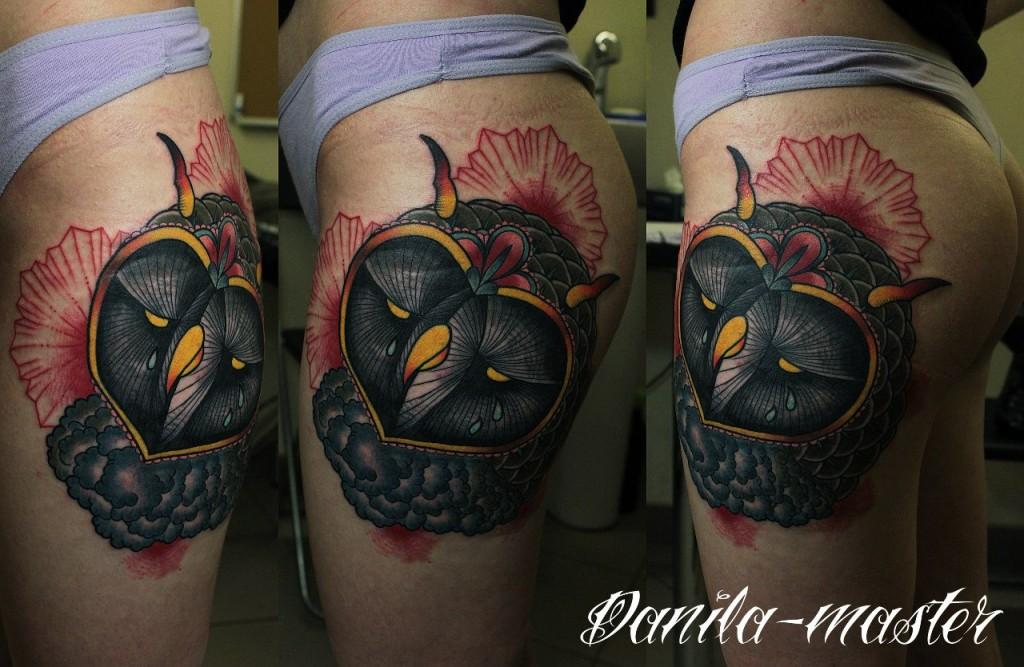 Художественная татуировка Сова. Данила - Мастер.