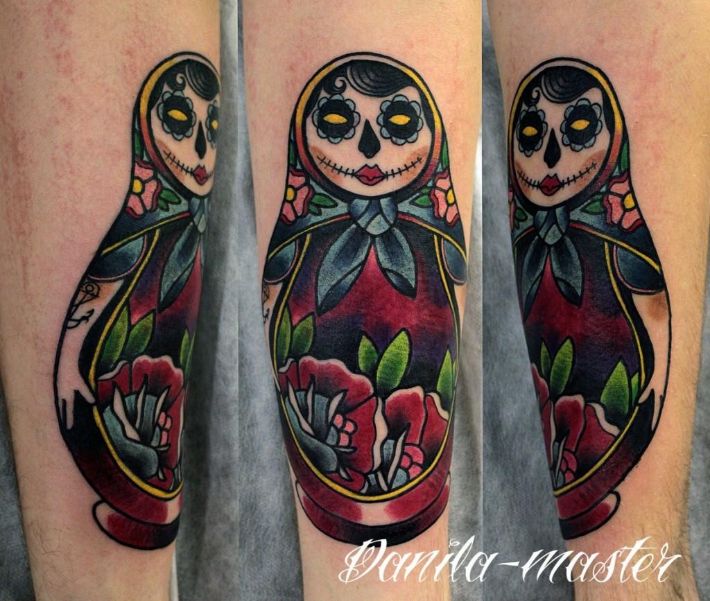Художественная татуировка МАТРЕШКА. Данила- Мастер.