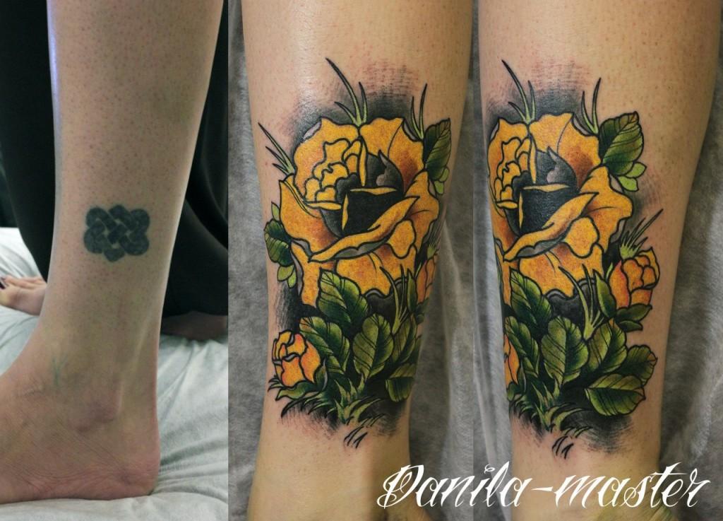 Художественная татуировка Роза. Перекрытие старой тату. Данила - Мастер.