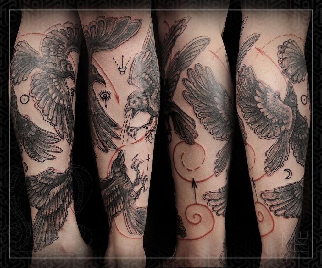 Художественный тату-рукав от мастера Михаила Колесникова.