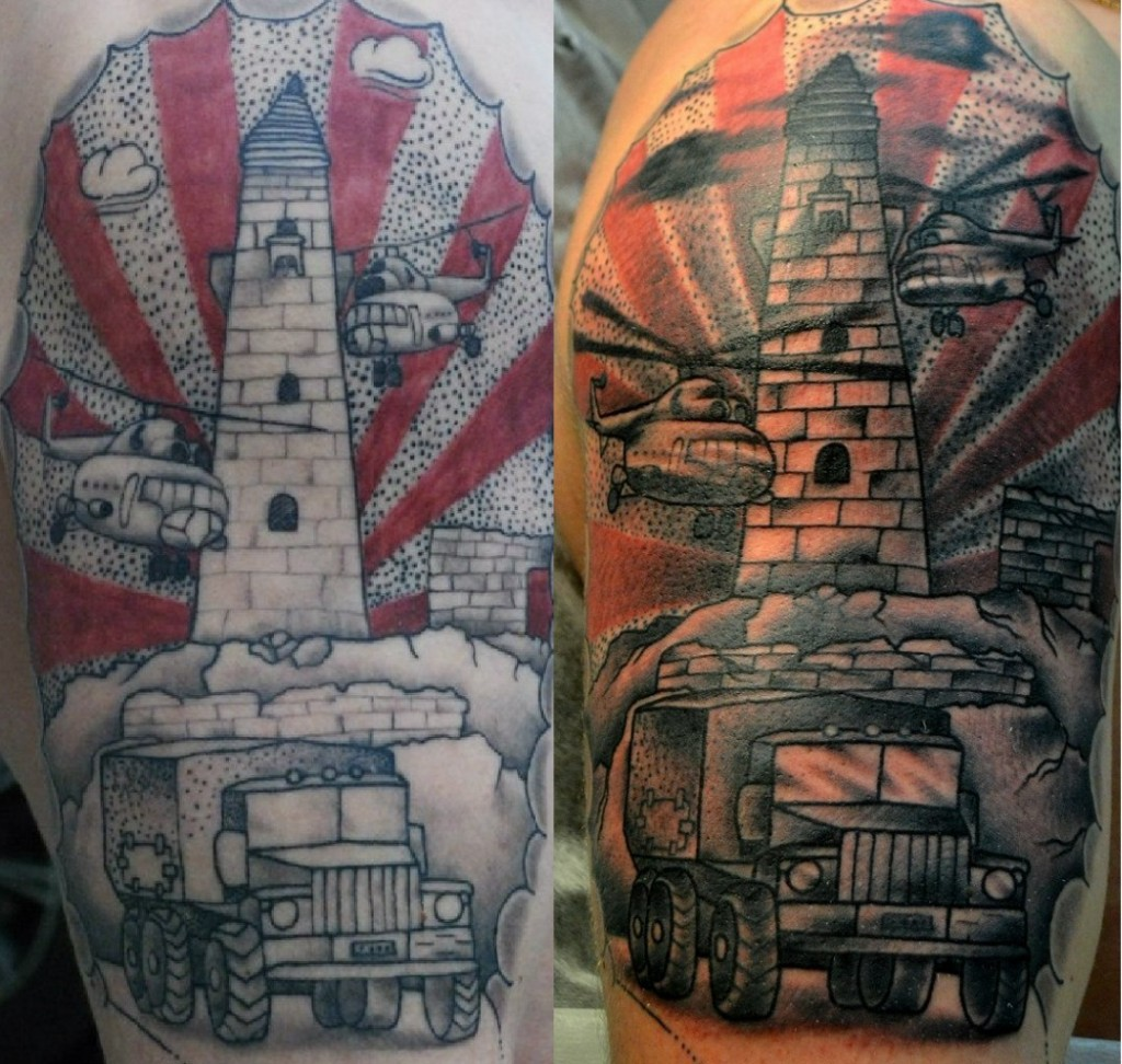 Исправление старой татуировки. Башня. Татуировка посвещённая службе. Плечо. Мастер Виолетта Доморад.