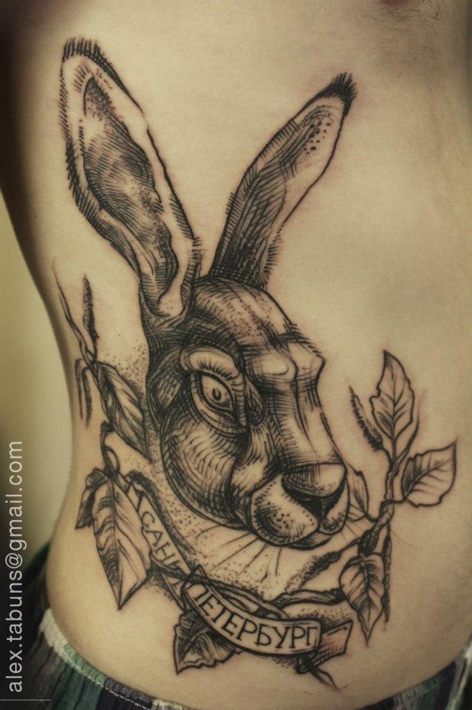 """Художественная татуировка """"Кролик"""".Мастер Александра Табунс. Часть тела:на боку."""