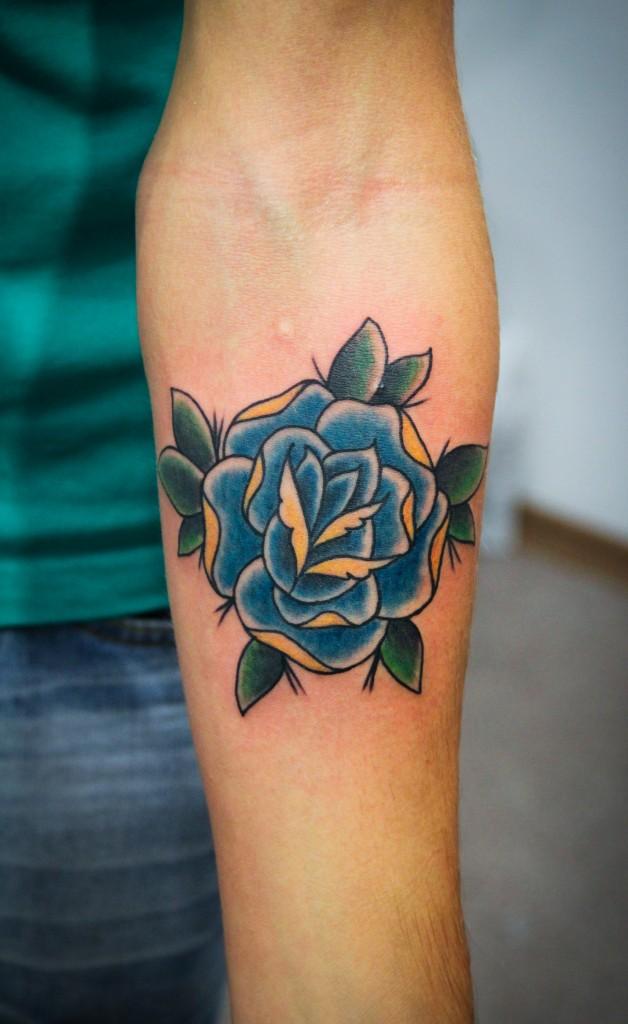 """Художественная татуировка """"Роза"""". Мастер Денис Марахин.Расположение: предплечье."""